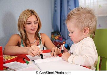 madre, bambino, disegno