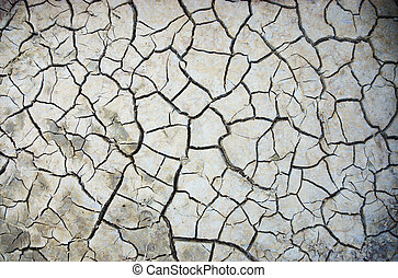 arid background - Parched, cracked soil in the hot sun