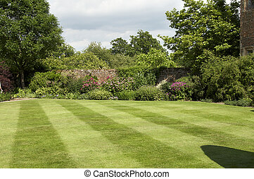 Garden border - A herbaceous border in an English cottage...