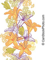 Beautiful seamless pattern with lilies.