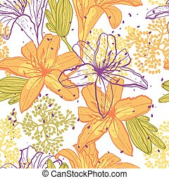 Beautiful seamless pattern with lilies, vector illustration