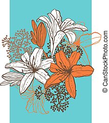 Lily flower abstract vector background, template for you...