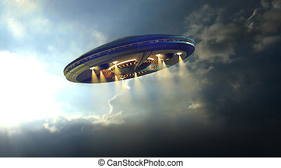 UFO flying - Alien UFO saucer flying on a clouds background...