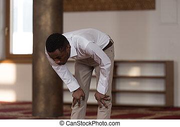 Humble Afro Muslim Prayer - Black African Muslim Man Is...