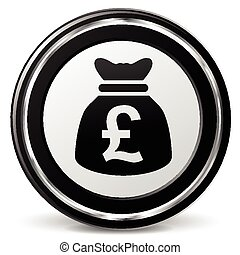 pound sterling icon with metal ring - illustration of pound...