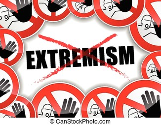 stop extremism problems - illustration of stop extremism...