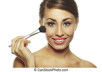 brunette woman doing daily morning routines - Portrait of...