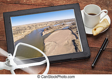 aerial landscape photography concept - reviewing aerial...