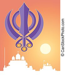 holy symbol - an illustration of a purple Sikh symbol the...