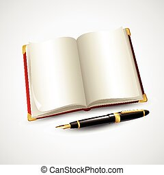 Notebook and pen. Vector illustration