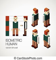 Vector isometric human set. Icon vector illustration