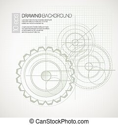 Background with drawing gears. Vector illustration EPS 10
