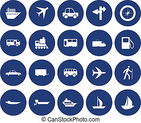 transportation icons set - Transportation set of different...