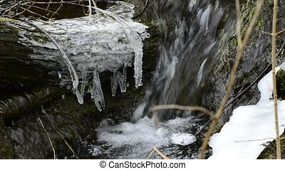 Small creek with snow and ice