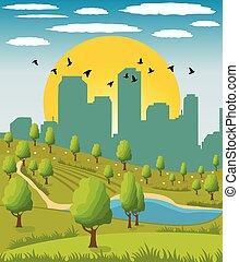 City park - Cartoon illustration of a summer city park