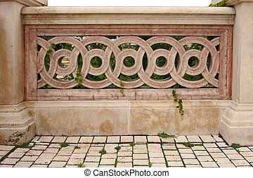 Balustrade - Stone balustrade white leaves and white...
