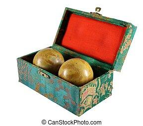 Chinese Baoding Balls on isolated white background