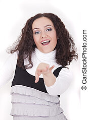 dancing woman in studio on white background