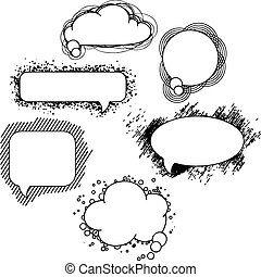 Collection of hand drawn speech bubbles and dialog balloons
