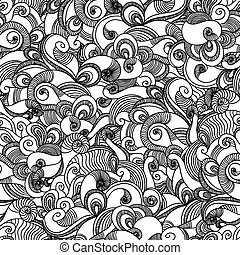 Seamless wave hand drawn pattern Abstract background