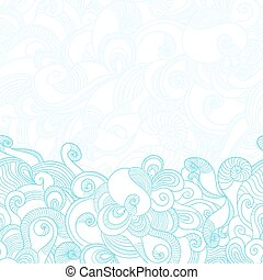 Seamless wave hand drawn pattern. Abstract background