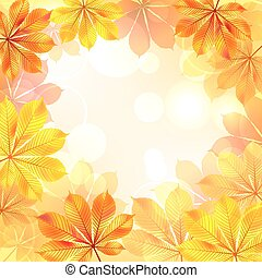 Autumn background with yellow leaves.