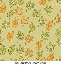Vector seamless texture with fall hand drawn leaves