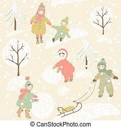 Winter background with children