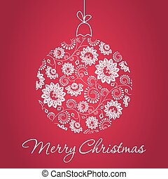 Merry Christmas Greeting Card with snowball made of...