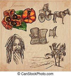jamaica, viaje, -, un, mano, dibujado, vector, Paquete,