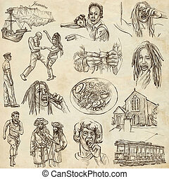 Jamaica Travel - Full sized hand drawn pack on paper -...