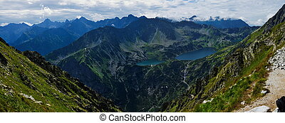 View from the Pass Krzyne at Five Lakes Valley in Polish...