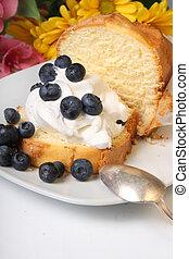 Blueberry shortcake - Slice of pound cake with whipped cream...