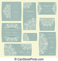 Wedding invitation card with floral elements Vintage...