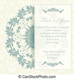 Wedding invitation card with floral elements. Vintage...