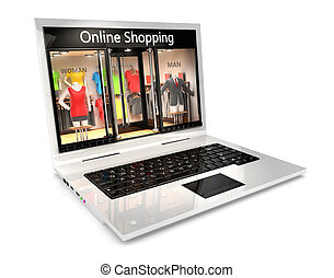 3d online shopping concept, isolated white background, 3d...