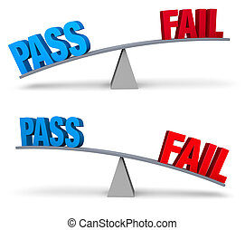 Pass or Fail Set - Set of two images In each, a blue PASS...