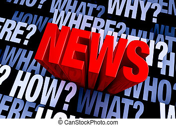 """Ask The Questions, Get The News - A bold, red """"NEWS"""" rises..."""