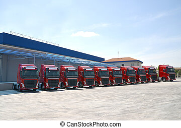 corporate fleet trucks lined , transportation company