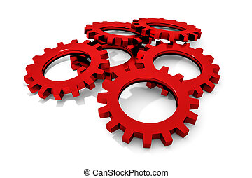 stack of red colored metallic cogwheels on white surface...