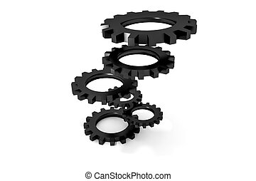 tower of black colored metallic cogwheels hovering...