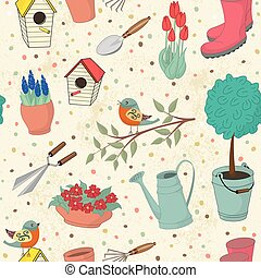 Garden tools - Decorative hand drawn card with garden tools....