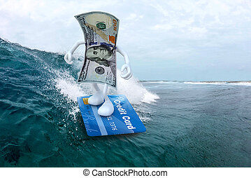 dollar surfing with credit card surfboard - dollar banknote...