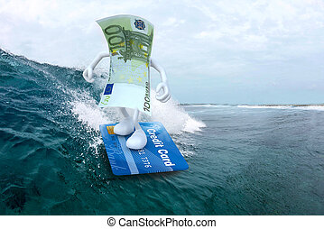euro surfing with credit card surfboard - euro banknote with...