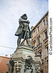 Venice, Italy - Statue of the Italian playwright Carlo...