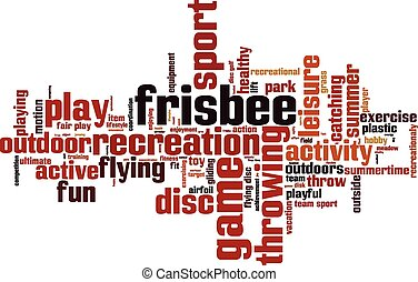 Frisbee word cloud concept. Vector illustration