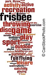 Frisbee word cloud concept Vector illustration