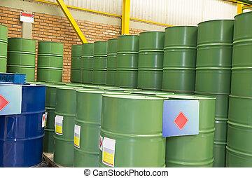 verde, metal, barriles,