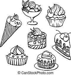 Vector set of cakes in black. Hand drawn illustration