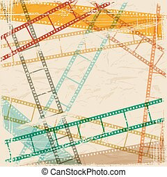 Vintage scratch background with film frame. Vector Eps 10.